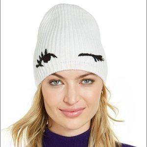 NWT Kate Spade White Winking Beanie Hat
